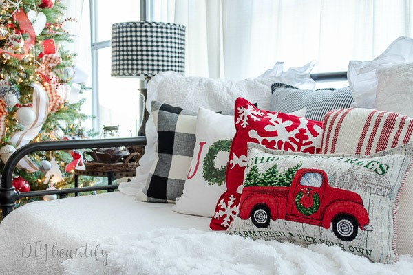 Christmas daybed and pillows