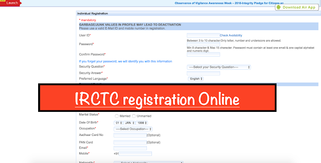 IRCTC login registration Online