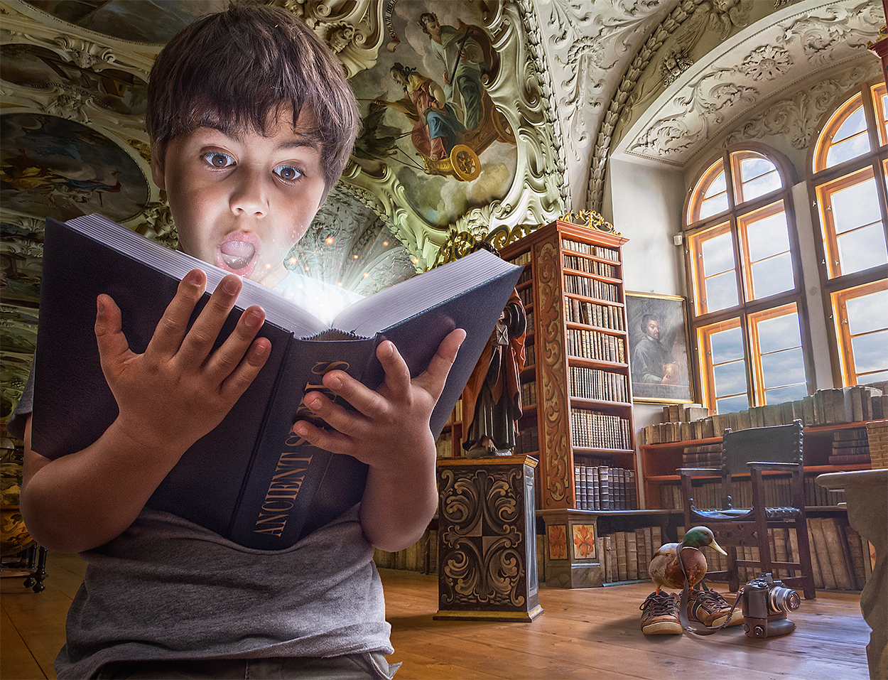 09-Library-Ancient-Spells-Adrian-Sommeling-Surreal-Photo-Manipulation-with-a-Son-s-Help-www-designstack-co