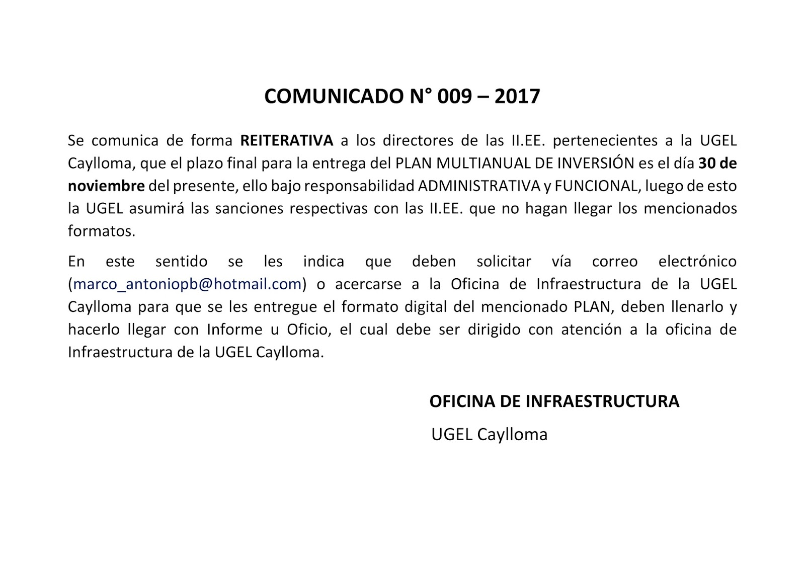 COMUNICADO N° 09 - 2017 PLAN MULTIANUAL DE INVERSIÓN - URGENTE ...