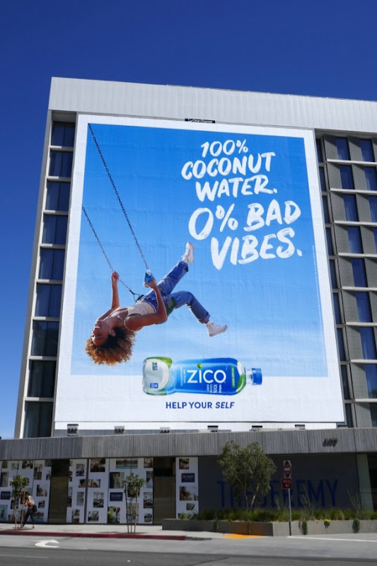 Zico coconut water zero bad vides swing billboard
