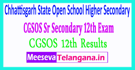 Chhattisgarh State Open School Higher Secondary CGSOS 12th Results 2019