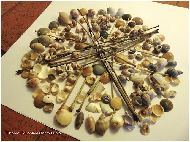 Mandala de palitos y caparazones marinos - Chacra Educativa Santa Lucía