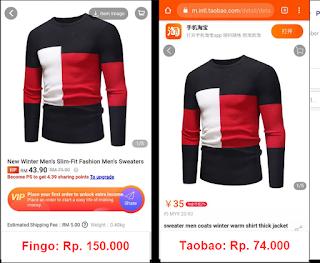 Perbandingan harga Fingo dan TaoBao