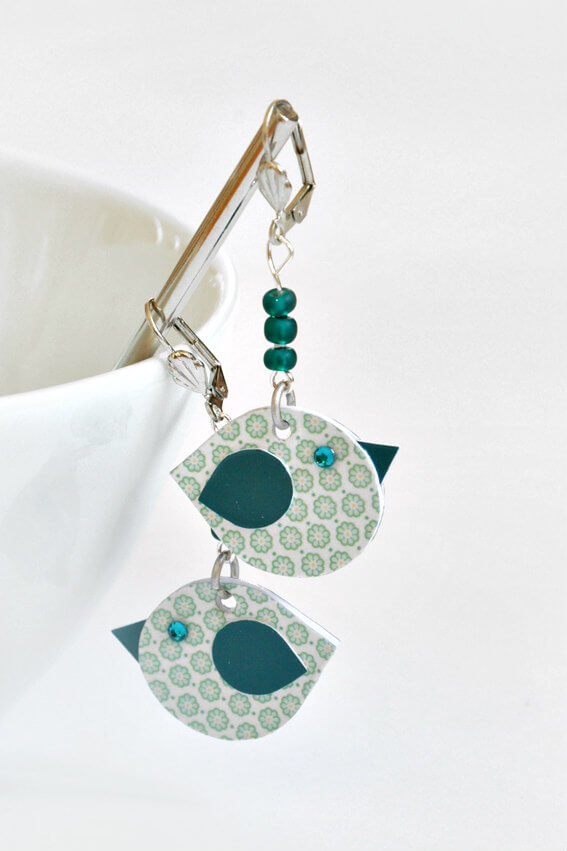 aqua and white paper chick earrings with aqua bead and silver accents