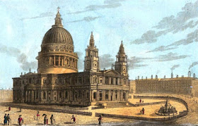 St Paul's Cathedral from The Monuments and Genii   of St Paul's Cathedral and of Westminster Abbey by GL Smyth (1826)