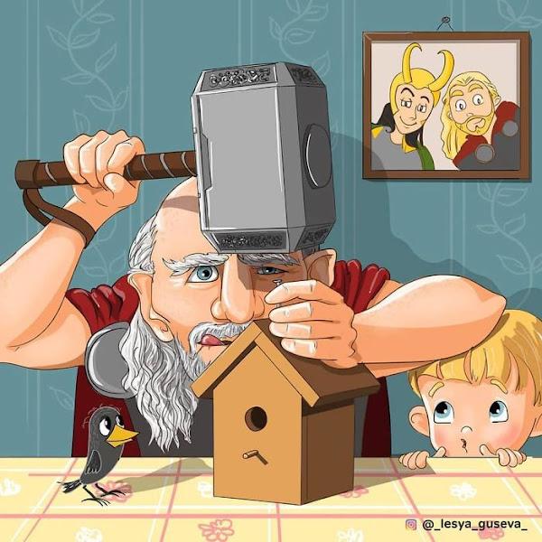 Artista russa ilustra personagens famosos em sua velhice, e Thor é adorável 5