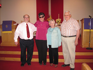 Laurel with Pastor Greg and the Polings at Bethel UMC, Van Wert, Ohio