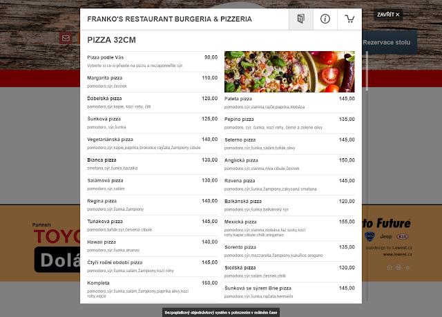 Cashback World - Franko's Restaurant, Burgeria & Pizzeria - objednávka na webu