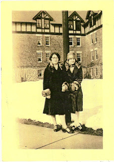 Jane and Lucy Clemmer in front of Nurses Home, Middletown State Hospital