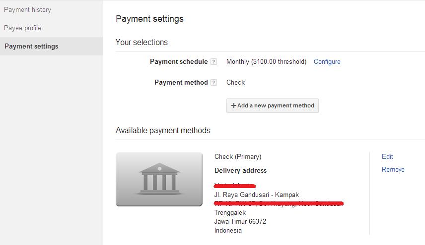 Metode pembayaran Google AdSense melalui Chek