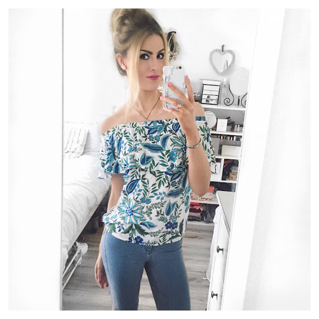 warehouse tropical palm print bardot top