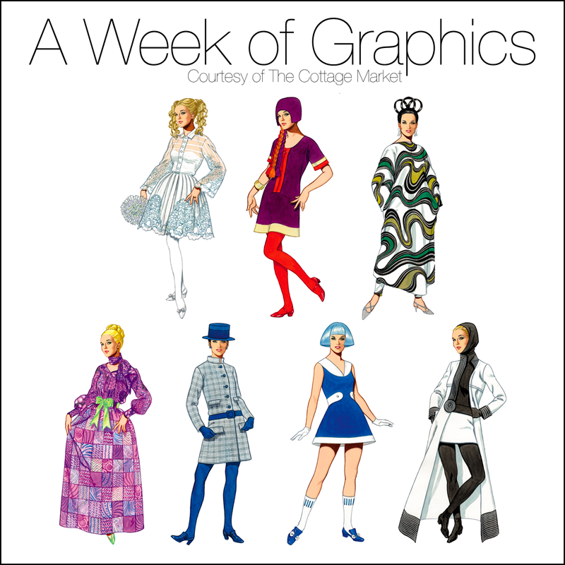 These 60s inspired fashion graphics are fun.