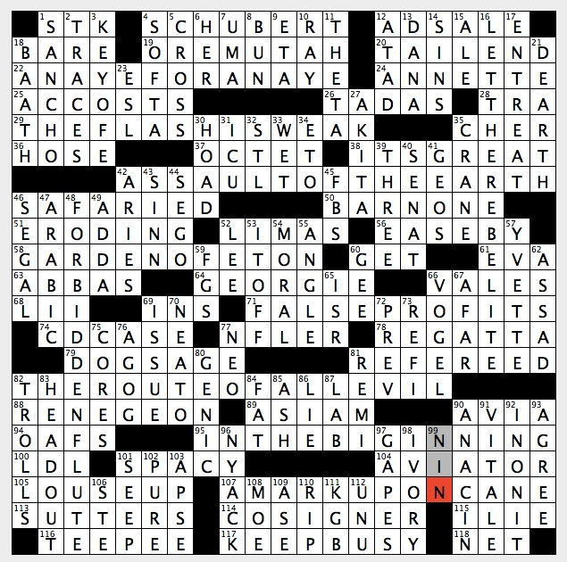 Warning for easily provoked types crossword