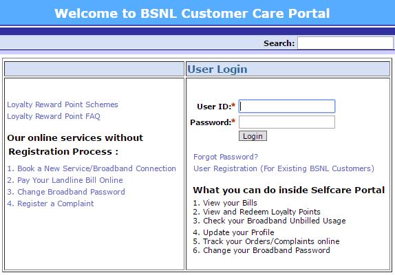 BSNL Selfcare Login