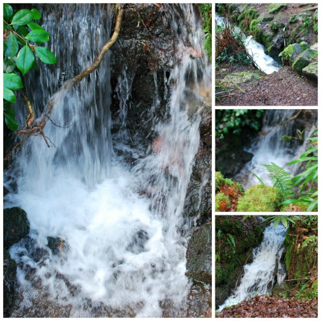 collage of four small waterfalls