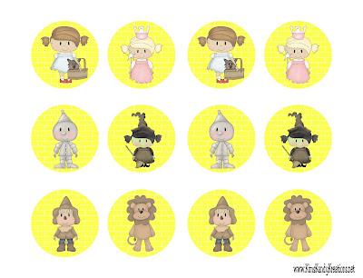 Wizard of Oz Easy Cupcake Topper Circle Printables by Kims Kandy Kreations