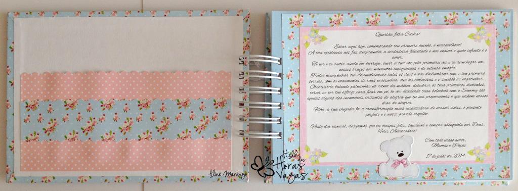 livro de mensagens ursinho provençal floral azul e rosa menina bebê aniversário