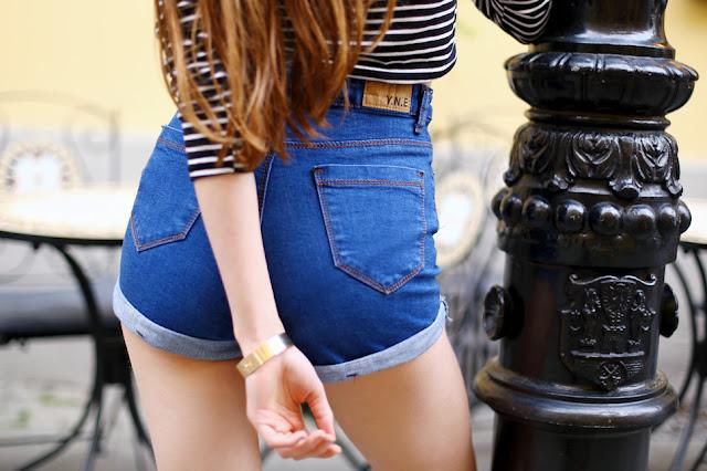jeansowe szorty z wysokim stanem od tyłu