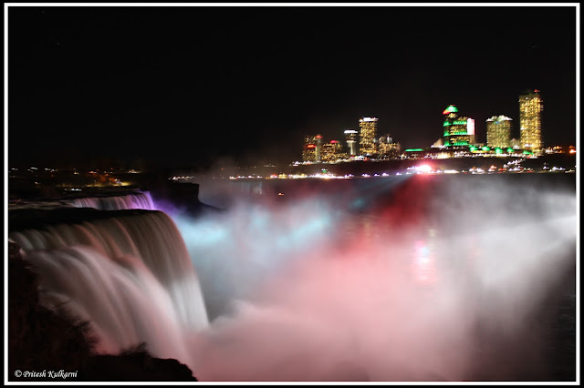 Light show at Niagara Fall, New York
