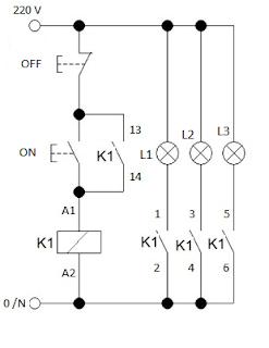 Kontrol beban listrik menggunakan contact NO