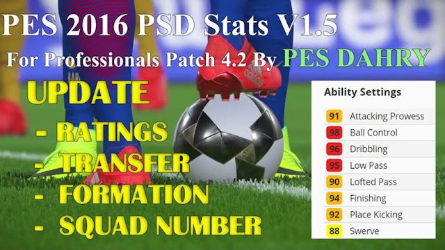 PES 2016 New PSD Stats For Professionals Patch 4.2