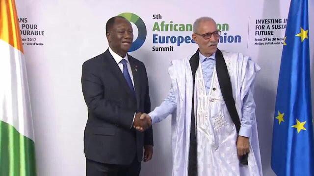 رئيس الجمهورية الصحراوية يحضر الى جانب نظرائه الأفارقة والأوروبيين مأدبة غذاء يقيمها الرئيس الايفواري