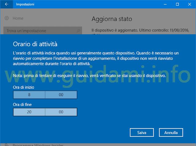 Orario di attività Windows 10 Anniversary Update