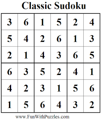 Classic Sudoku (Mini Sudoku Series #38) Solution