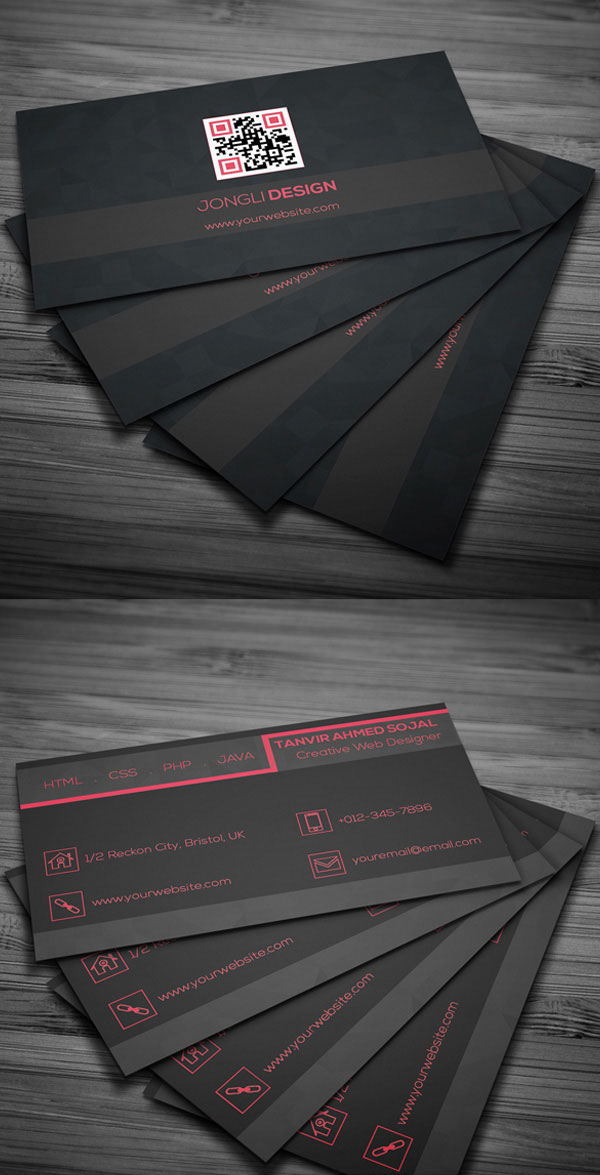 Free Dark Business Card PSD Template