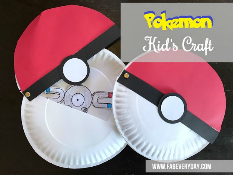 paper plate pokeball craft - Pokemon crafts for kids