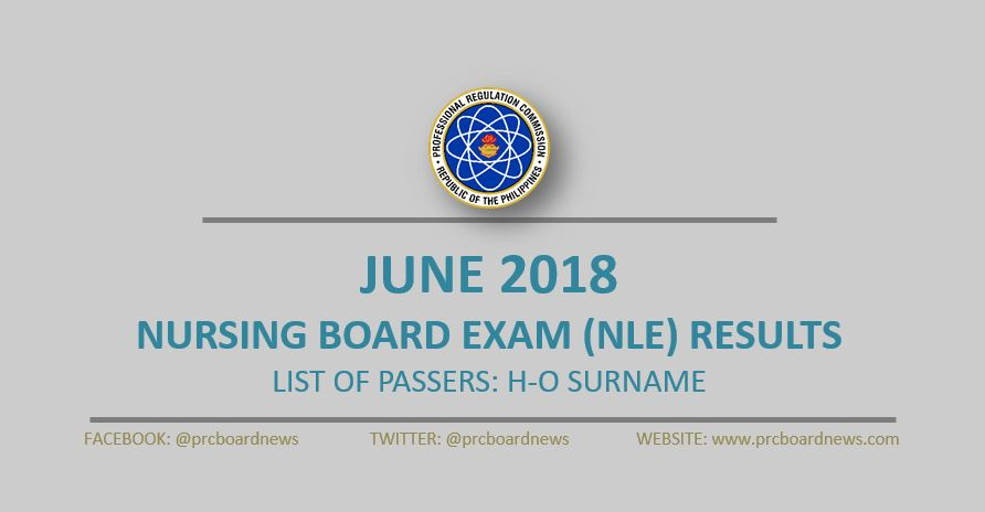 H-O Passers: June 2018 NLE nursing board exam results