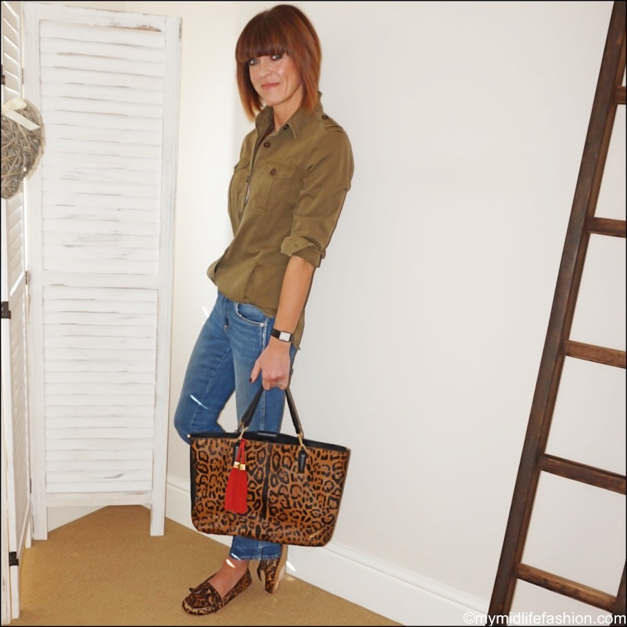 my midlife fashion, Isabel Marant Etoile khaki shacket, j crew cropped kick flare jeans, Brian Atwood leopard print shopper, Isabel Marant Etoile leopard print moccasins