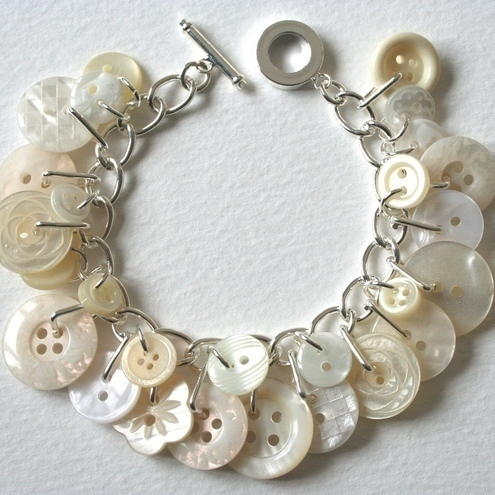 bracelet with white buttons