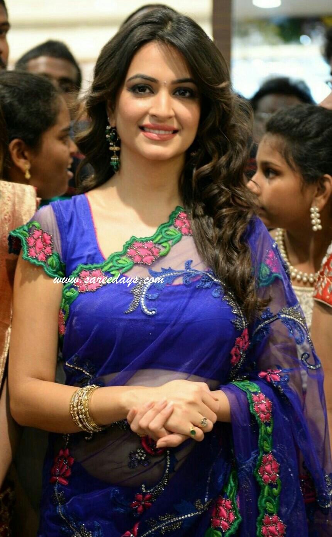 Latest saree designs march 2018 blue netted saree altavistaventures Image collections