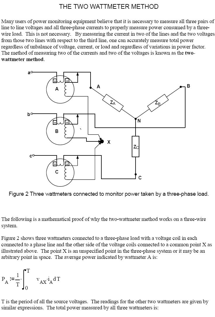 hight resolution of two wattmeter method to measure currents and voltages in three phase supply