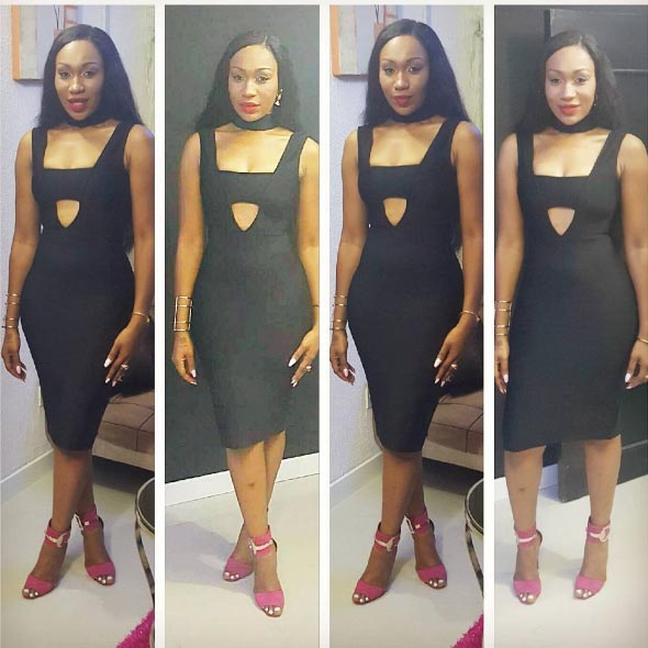 Actress Ebube Nwagbo steps out in sexy black dress