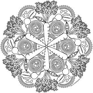 garden mandala coloring page for spring- available in jpg and transparent png formats