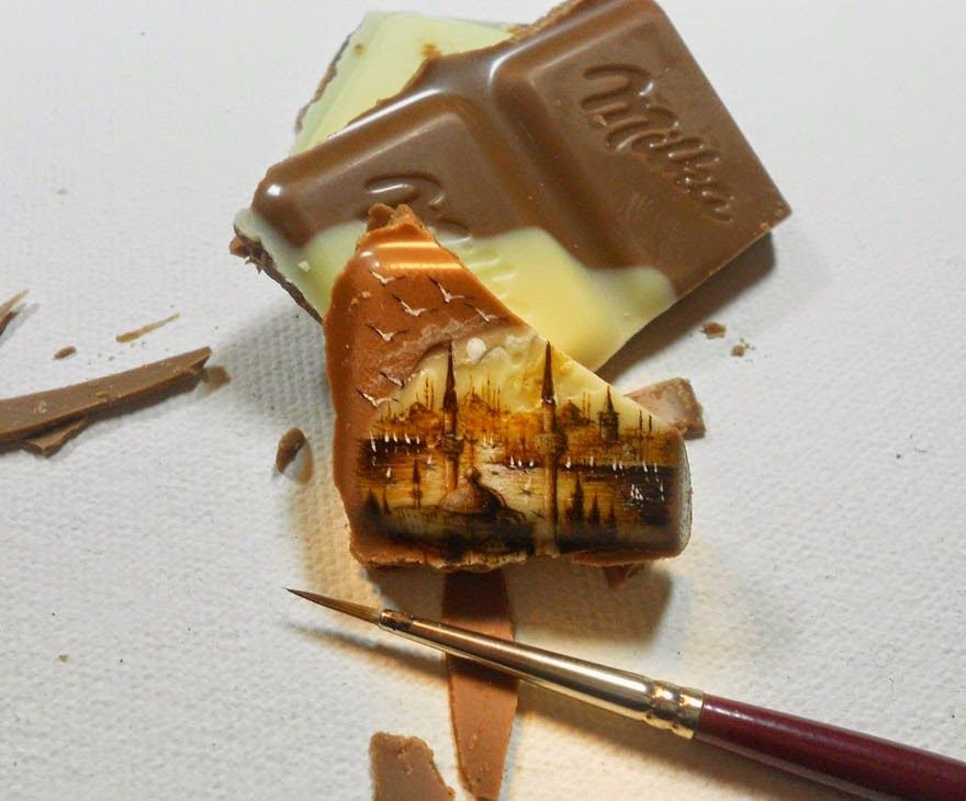 Artist Hasan Kale Paints Insanely Small Paintings onto Food