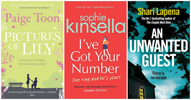 Pictures of Lily by Paige Toon, I've Got Your Number by Sophie Kinsella and An Unwanted Guest by Shari Lapena