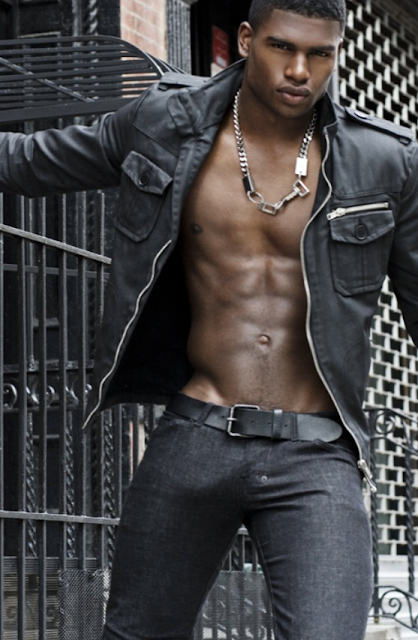 Broderick Hunter in skinny black jeans and boots shirtless bulge