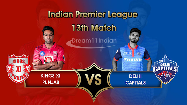 IPL 2019 KXIP vs DC Dream11 Fantasy Team for grand League, Playing XI