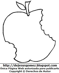 Manzana con 2 mordizcos para colorear o pintar. Dibujo de manzana de Jesus Gómez