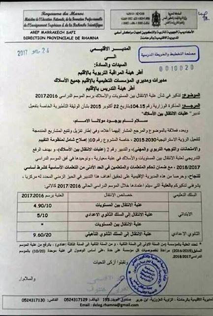 عتبة الإنتقال بين المستويات والأسلاك للموسم الدراسي 2016/2017