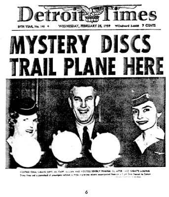 Mystery Discs Trail Plane Here (Headline) - Detroit Times 2-25-1959