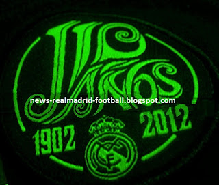 Real Madrid 110th logo on the sleeve of the away shirt 2012-2013