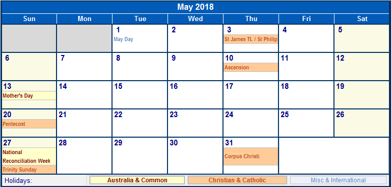 2018 holiday calendar printable