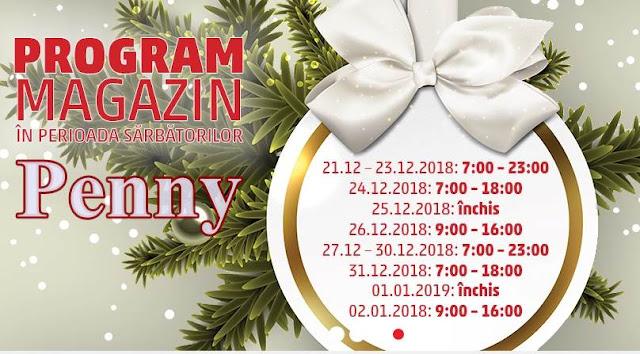 program orar penny 23 24 27 31 decembrie 2018  2 3 ianuarie 2019