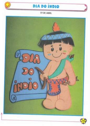 Plaquinha para Dia do Índio com Molde.
