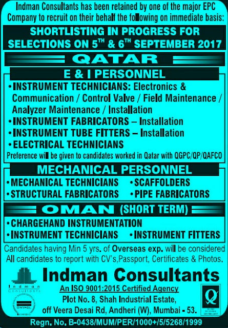 Walk in for shortlisting for interview EPC Qatar Oman Jobsin Mumbai